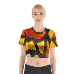 Colorful Glass Mosaic Art And Abstract Wall Background Cotton Crop Top