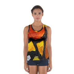 Colorful Glass Mosaic Art And Abstract Wall Background Women s Sport Tank Top
