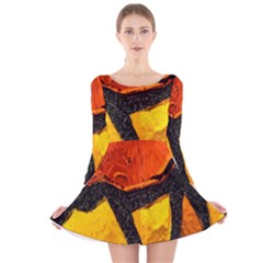 Colorful Glass Mosaic Art And Abstract Wall Background Long Sleeve Velvet Skater Dress