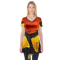 Colorful Glass Mosaic Art And Abstract Wall Background Short Sleeve Tunic