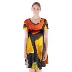 Colorful Glass Mosaic Art And Abstract Wall Background Short Sleeve V-neck Flare Dress