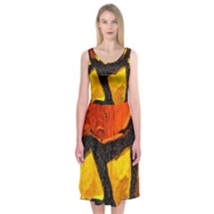 Colorful Glass Mosaic Art And Abstract Wall Background Midi Sleeveless Dress