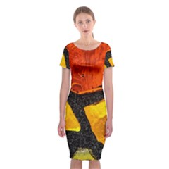 Colorful Glass Mosaic Art And Abstract Wall Background Classic Short Sleeve Midi Dress