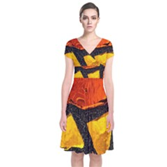 Colorful Glass Mosaic Art And Abstract Wall Background Short Sleeve Front Wrap Dress