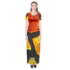 Colorful Glass Mosaic Art And Abstract Wall Background Short Sleeve Maxi Dress