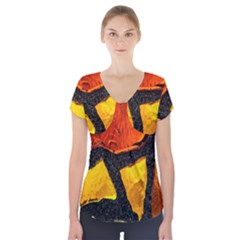 Colorful Glass Mosaic Art And Abstract Wall Background Short Sleeve Front Detail Top