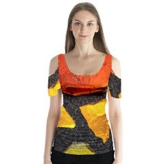 Colorful Glass Mosaic Art And Abstract Wall Background Butterfly Sleeve Cutout Tee