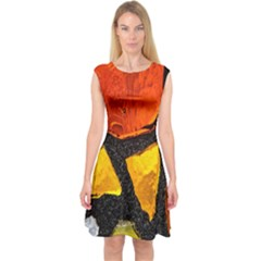 Colorful Glass Mosaic Art And Abstract Wall Background Capsleeve Midi Dress
