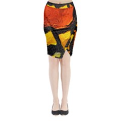 Colorful Glass Mosaic Art And Abstract Wall Background Midi Wrap Pencil Skirt