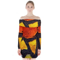 Colorful Glass Mosaic Art And Abstract Wall Background Long Sleeve Off Shoulder Dress