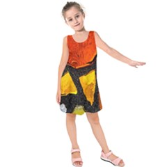 Colorful Glass Mosaic Art And Abstract Wall Background Kids  Sleeveless Dress