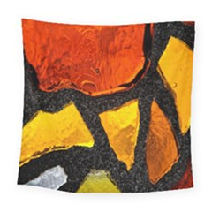 Colorful Glass Mosaic Art And Abstract Wall Background Square Tapestry (large)