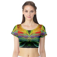 Future Abstract Desktop Wallpaper Short Sleeve Crop Top (tight Fit)