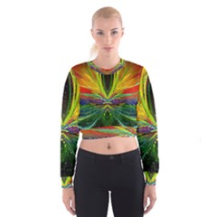 Future Abstract Desktop Wallpaper Women s Cropped Sweatshirt
