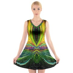Future Abstract Desktop Wallpaper V Neck Sleeveless Skater Dress