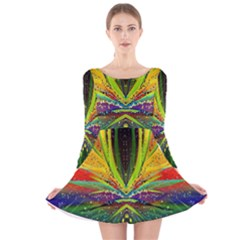 Future Abstract Desktop Wallpaper Long Sleeve Velvet Skater Dress