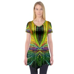 Future Abstract Desktop Wallpaper Short Sleeve Tunic