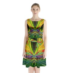 Future Abstract Desktop Wallpaper Sleeveless Chiffon Waist Tie Dress