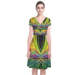 Future Abstract Desktop Wallpaper Short Sleeve Front Wrap Dress