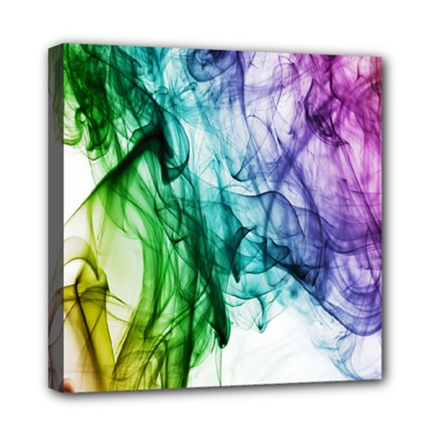Colour Smoke Rainbow Color Design Mini Canvas 8  X 8
