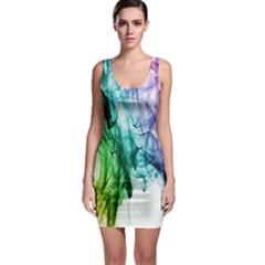 Colour Smoke Rainbow Color Design Sleeveless Bodycon Dress