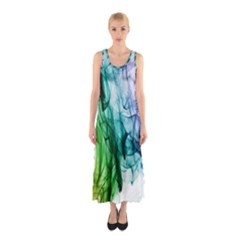 Colour Smoke Rainbow Color Design Sleeveless Maxi Dress