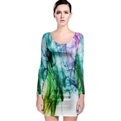 Colour Smoke Rainbow Color Design Long Sleeve Bodycon Dress