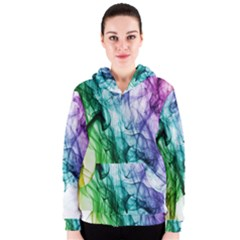Colour Smoke Rainbow Color Design Women s Zipper Hoodie