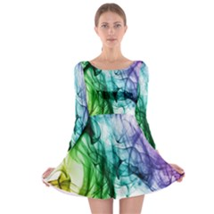 Colour Smoke Rainbow Color Design Long Sleeve Skater Dress