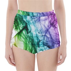 Colour Smoke Rainbow Color Design High-Waisted Bikini Bottoms