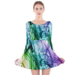 Colour Smoke Rainbow Color Design Long Sleeve Velvet Skater Dress