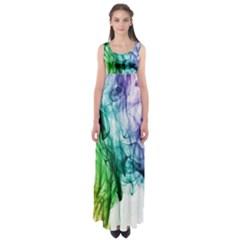 Colour Smoke Rainbow Color Design Empire Waist Maxi Dress