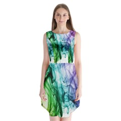Colour Smoke Rainbow Color Design Sleeveless Chiffon Dress