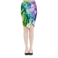 Colour Smoke Rainbow Color Design Midi Wrap Pencil Skirt