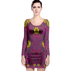 Colors And Wonderful Sun  Flowers Long Sleeve Bodycon Dress