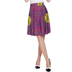 Colors And Wonderful Sun  Flowers A Line Skirt
