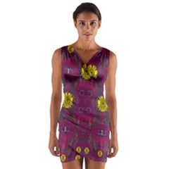 Colors And Wonderful Sun  Flowers Wrap Front Bodycon Dress