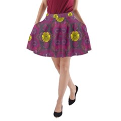 Colors And Wonderful Sun  Flowers A Line Pocket Skirt