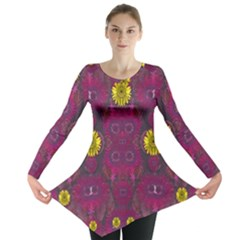 Colors And Wonderful Sun  Flowers Long Sleeve Tunic