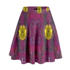 Colors And Wonderful Sun  Flowers High Waist Skirt