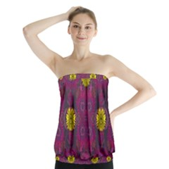 Colors And Wonderful Sun  Flowers Strapless Top