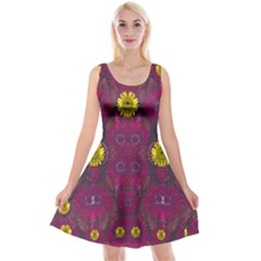 Colors And Wonderful Sun  Flowers Reversible Velvet Sleeveless Dress