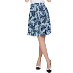 Navy Camouflage A-Line Skirt