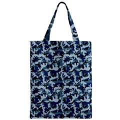 Navy Camouflage Zipper Classic Tote Bag