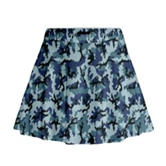 Navy Camouflage Mini Flare Skirt
