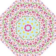 Watercolor Flowers And Butterflies Pattern Hook Handle Umbrellas (medium)