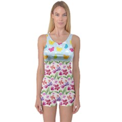 Watercolor flowers and butterflies pattern One Piece Boyleg Swimsuit