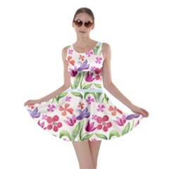 Watercolor flowers and butterflies pattern Skater Dress