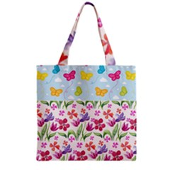 Watercolor flowers and butterflies pattern Grocery Tote Bag