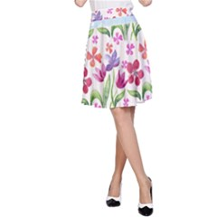 Watercolor flowers and butterflies pattern A-Line Skirt